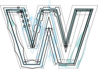 Papier Peint - Font illustration letter w