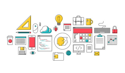 Flat line web design and programming icons