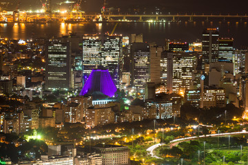 Night aerial view of Centro, Lapa and Сathedral. Rio de Janeiro