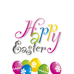 Happy Easter color eggs white background