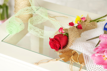 Working place of florist. On light background. Conceptual photo