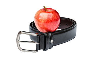 Diet concept-red apple with belt
