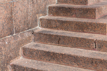 Stairs made of red granite