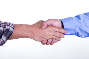 Men shake hands each other