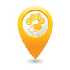 Map pointer money exchange icon