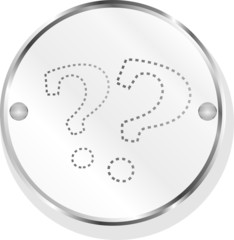 Stylish button with question mark, isolated on white