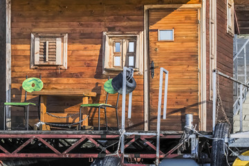 Old Weathered Wooden Summer Leisure Raft Hut On Sava River - Det