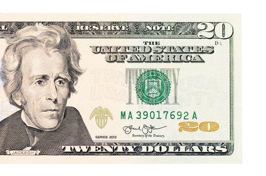 Twenty dollars isolated on white background