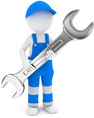 Handwerker mit Gabelschlüssel