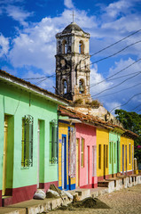 Colorful houses and church tower in colonial Trinidad