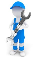 Handwerker mit Maulschlüssel