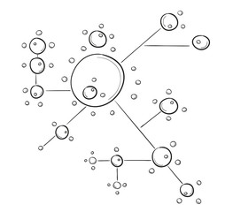 sketch of the circles connected by lines