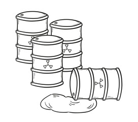 barrels with dangerous fluid