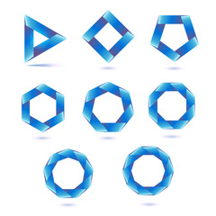 Set of eight polygonal shapes on white background.