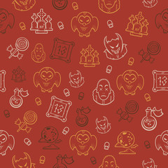 Seamless background with halloween elements. Colored pattern.