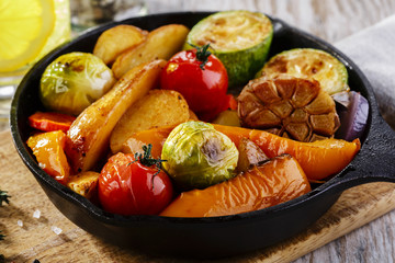 roasted vegetables in a pan