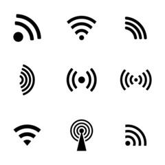 Vector black wireless icons set