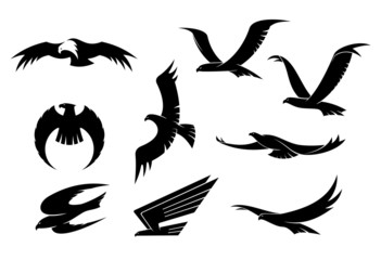 Silhouette set of flying birds