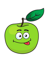 Green cartoon apple with goofy expression