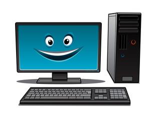 Happy cartoon desktop computer