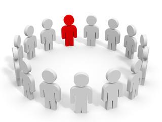 3D people.Meeting. Leader.