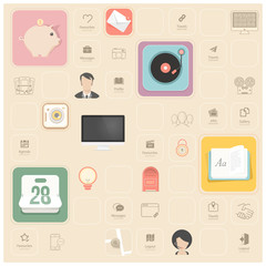 Vintage flat objects and icons for templates