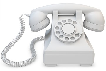 3d white old-fashioned phone