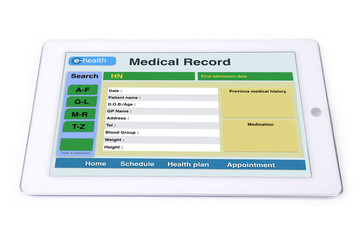 Wall Mural - Medical record on tablet.