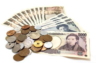 Japan money on white background
