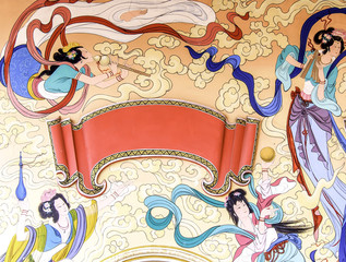 painting in Chinese temple, angles on heaven with blank label