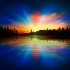 abstract nature blue background with forest lake and sunrise