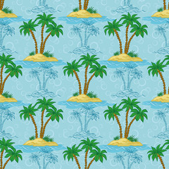 Seamless pattern, palm trees