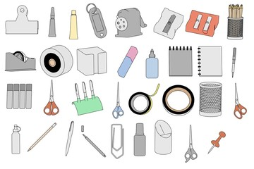 cartoon image of stationery tools