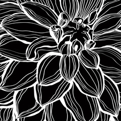 Black silhouette of flower with petals.