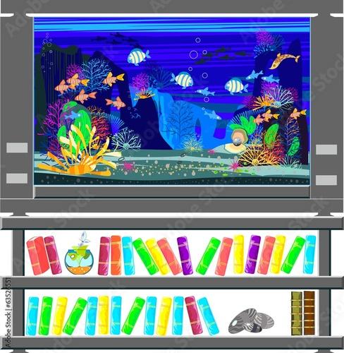 Aquarium With Marine Fishes And Bookshelf