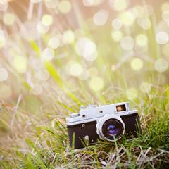 Summer backgound with retro camera