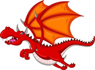 red dragon cartoon flying