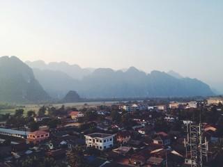airview landscape in laos, vang vieng town