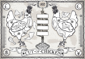 Vintage Page of Cut of Chicken