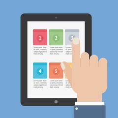 finger touch tablet app screen