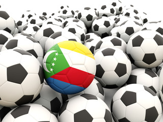 Football with flag of comoros