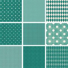 set of green retro polka dot seamless patterns