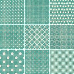 set of faded green retro polka dot seamless patterns