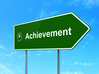 Education concept: Achievement and Head With Lightbulb on road