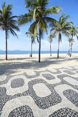 Ipanema Beach Rio de Janeiro Boardwalk with Palm Trees