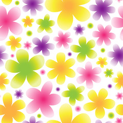 Bright floral seamless pattern on light background.