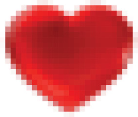abstract square pixel mosaic , heart shape