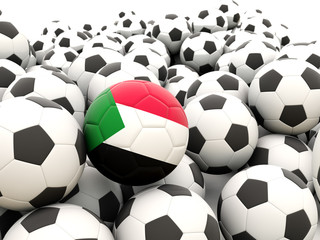 Football with flag of sudan