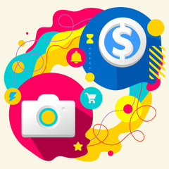 Photo camera and dollar sign on abstract colorful splashes backg
