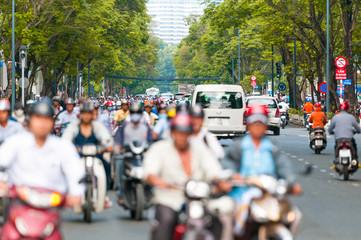 Busy street in Ho Chi Minh City. Vietnam.